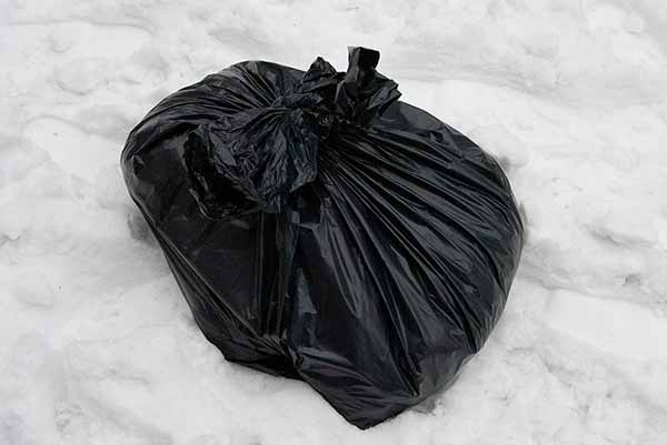 Bokashi i plastiksæk om vinteren