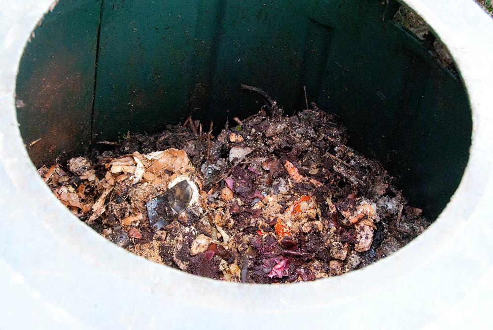 Bokashi i lukket kompostbeholder. Foto: Maria Ehlert, Byhaver.dk