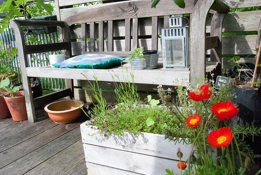 Terrasse med planter. Foto Maria Ehlert, Byhaver.dk